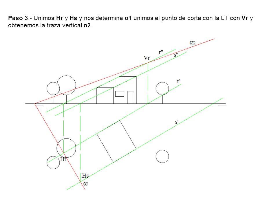 Paso 3.- Unimos Hr y Hs y nos determina α1 unimos el punto de corte con la LT con Vr y obtenemos la traza vertical α2.