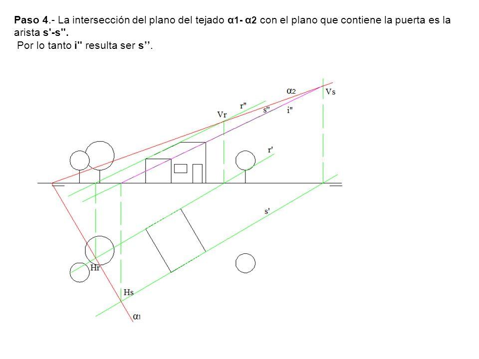 Paso 4.- La intersección del plano del tejado α1- α2 con el plano que contiene la puerta es la arista s -s .