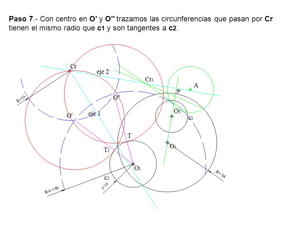Paso 7.- Con centro en O y O trazamos las circunferencias que pasan por Cr tienen el mismo radio que c1 y son tangentes a c2.