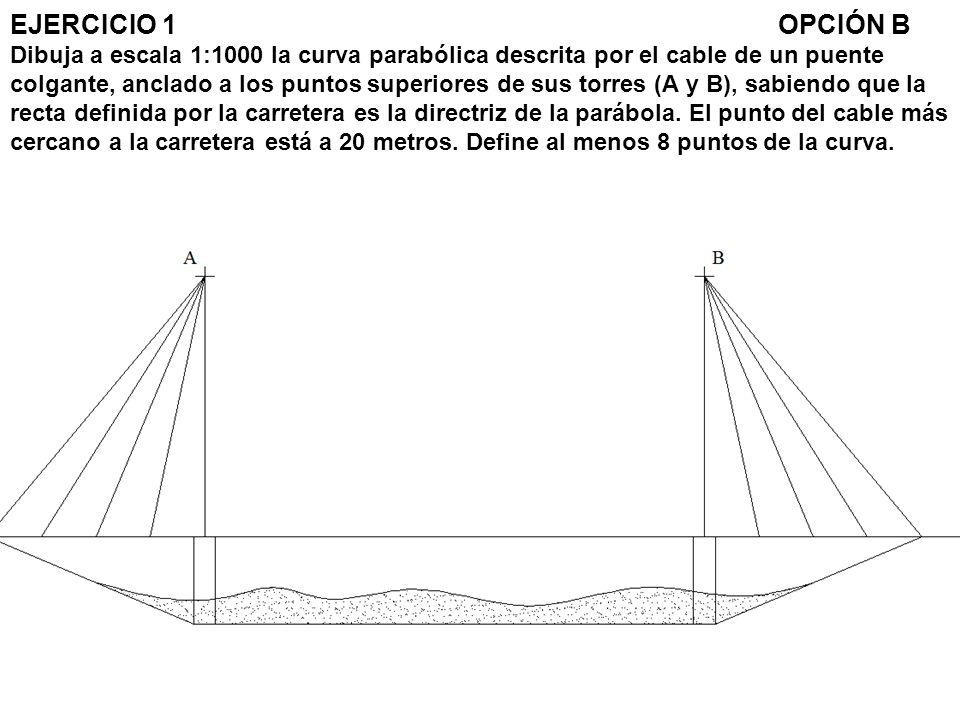 EJERCICIO 1 OPCIÓN B Dibuja a escala 1:1000 la curva parabólica descrita por el cable de un puente colgante, anclado a los puntos superiores de sus torres (A y B), sabiendo que la recta definida por la carretera es la directriz de la parábola.