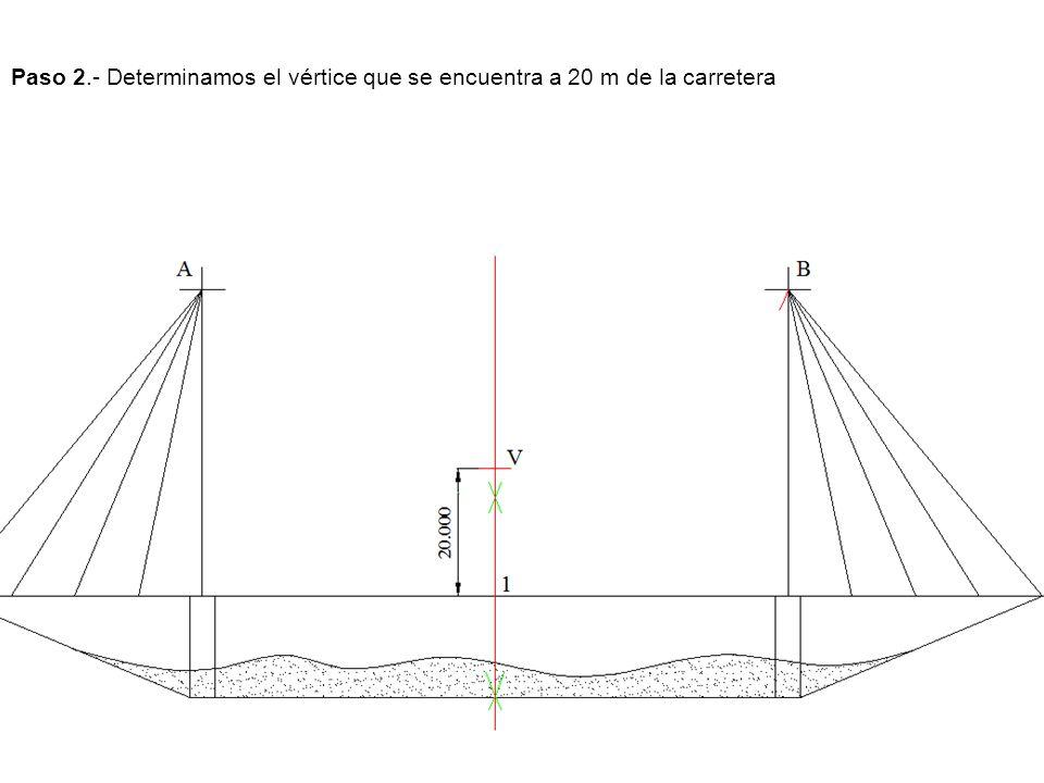 Paso 2.- Determinamos el vértice que se encuentra a 20 m de la carretera