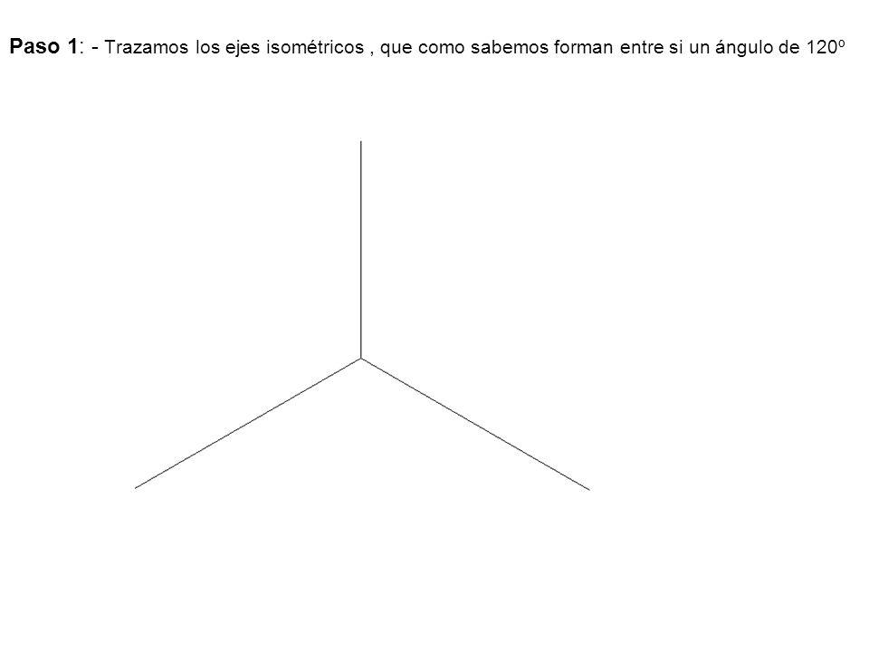 Paso 1: - Trazamos los ejes isométricos , que como sabemos forman entre si un ángulo de 120º