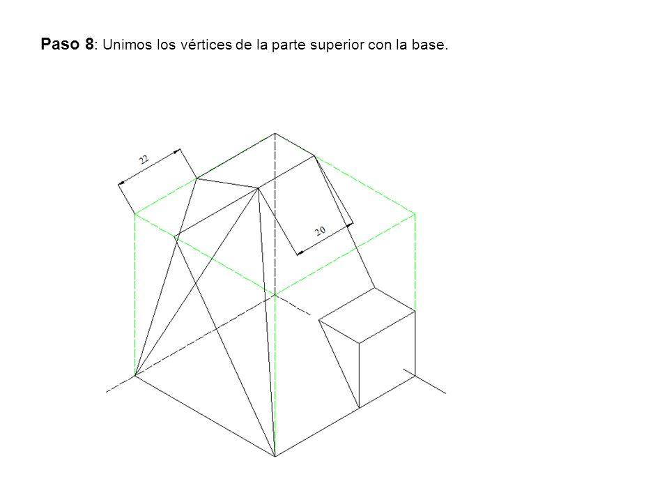 Paso 8: Unimos los vértices de la parte superior con la base.