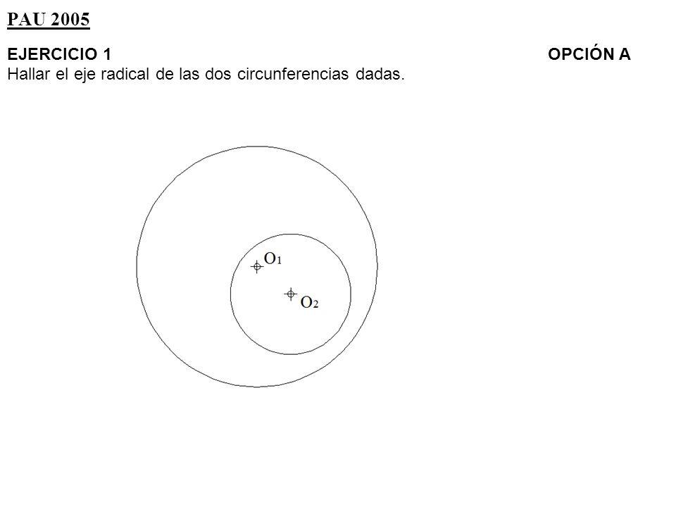 PAU 2005 EJERCICIO 1 OPCIÓN A Hallar el eje radical de las dos circunferencias dadas.