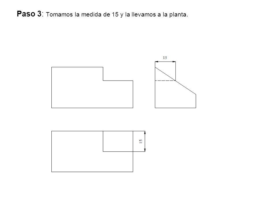 Paso 3: Tomamos la medida de 15 y la llevamos a la planta.