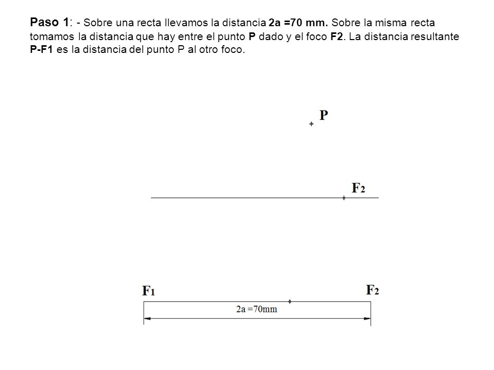 Paso 1: - Sobre una recta llevamos la distancia 2a =70 mm
