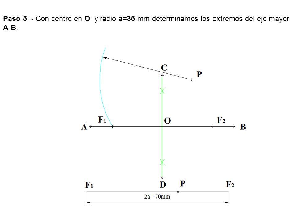 Paso 5: - Con centro en O y radio a=35 mm determinamos los extremos del eje mayor A-B.
