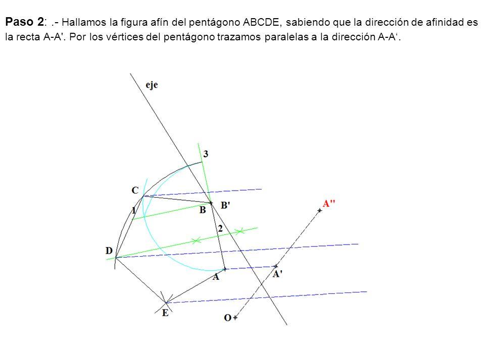 Paso 2: .- Hallamos la figura afín del pentágono ABCDE, sabiendo que la dirección de afinidad es la recta A-A .