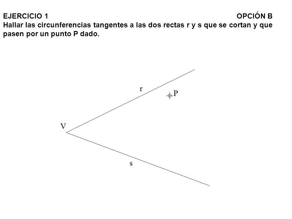 EJERCICIO 1 OPCIÓN B Hallar las circunferencias tangentes a las dos rectas r y s que se cortan y que pasen por un punto P dado.