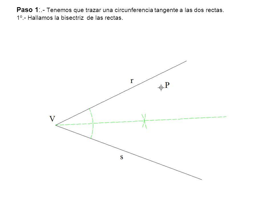 Paso 1:.- Tenemos que trazar una circunferencia tangente a las dos rectas.