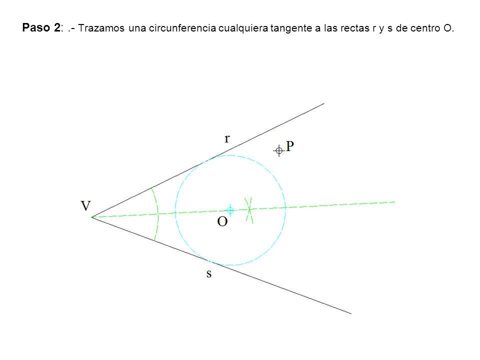 Paso 2: .- Trazamos una circunferencia cualquiera tangente a las rectas r y s de centro O.