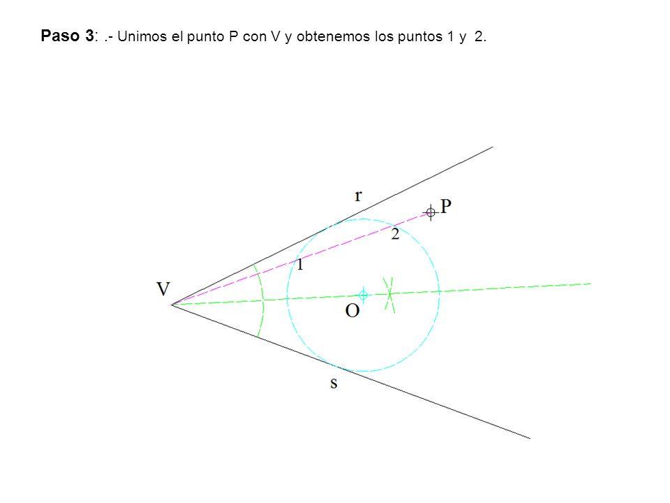 Paso 3: .- Unimos el punto P con V y obtenemos los puntos 1 y 2.