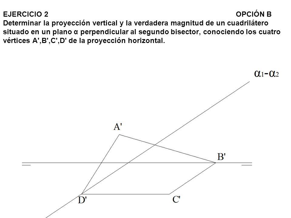 EJERCICIO 2 OPCIÓN B Determinar la proyección vertical y la verdadera magnitud de un cuadrilátero situado en un plano α perpendicular al segundo bisector, conociendo los cuatro vértices A ,B ,C ,D de la proyección horizontal.