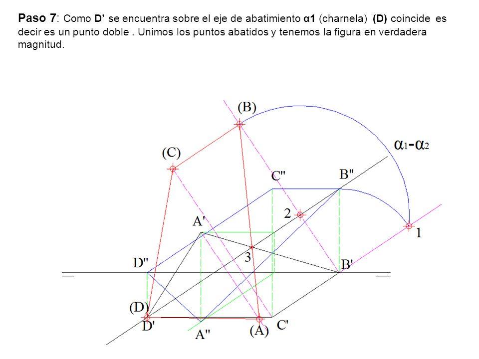 Paso 7: Como D' se encuentra sobre el eje de abatimiento α1 (charnela) (D) coincide es decir es un punto doble .
