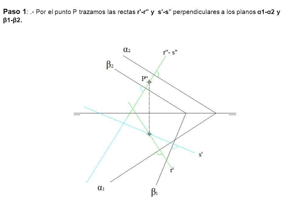 Paso 1: .- Por el punto P trazamos las rectas r -r y s -s perpendiculares a los planos α1-α2 y β1-β2.