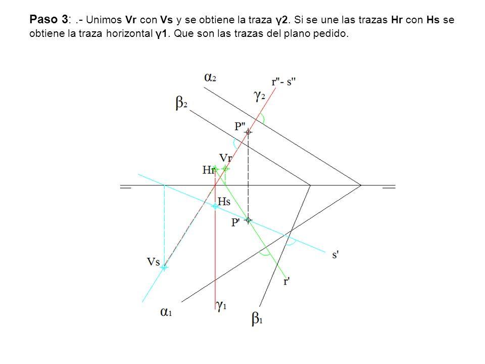 Paso 3:. - Unimos Vr con Vs y se obtiene la traza γ2