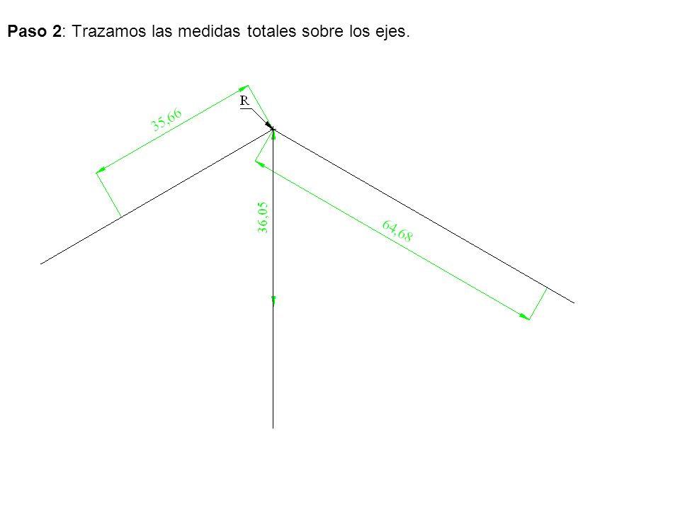 Paso 2: Trazamos las medidas totales sobre los ejes.