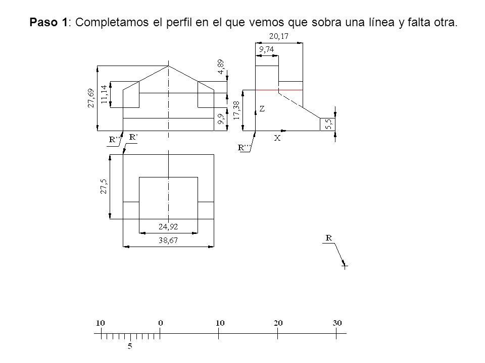Paso 1: Completamos el perfil en el que vemos que sobra una línea y falta otra.