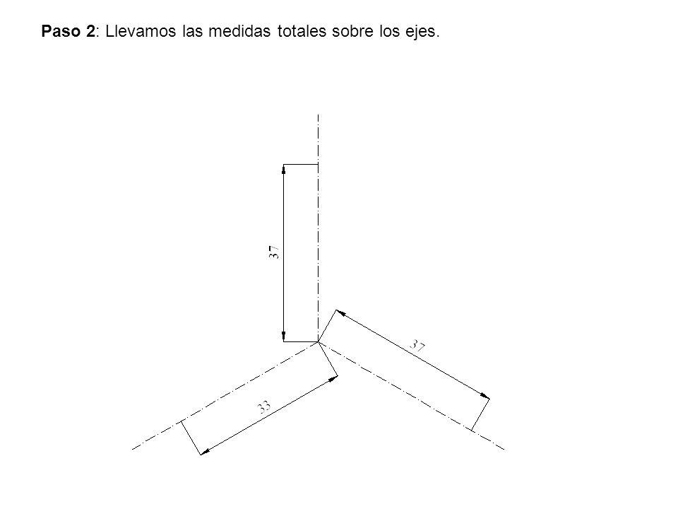 Paso 2: Llevamos las medidas totales sobre los ejes.