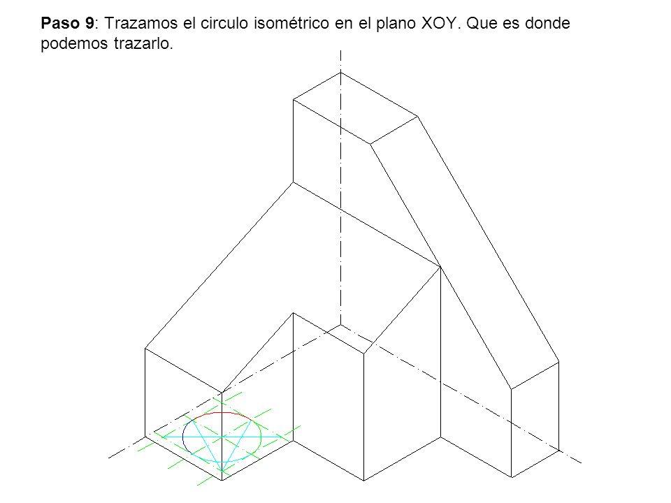 Paso 9: Trazamos el circulo isométrico en el plano XOY