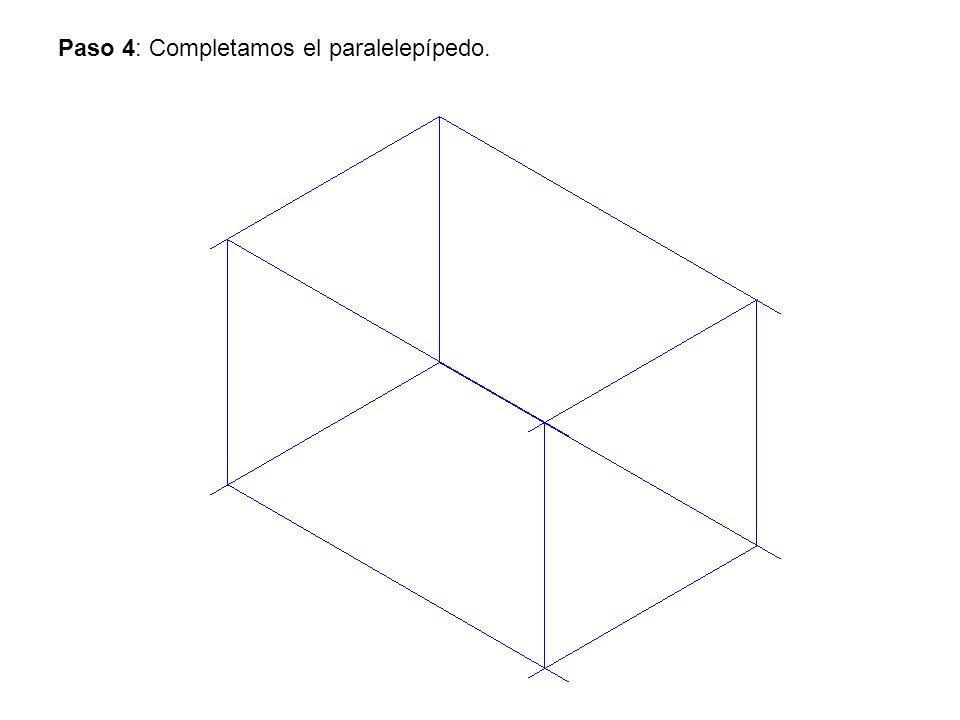 Paso 4: Completamos el paralelepípedo.