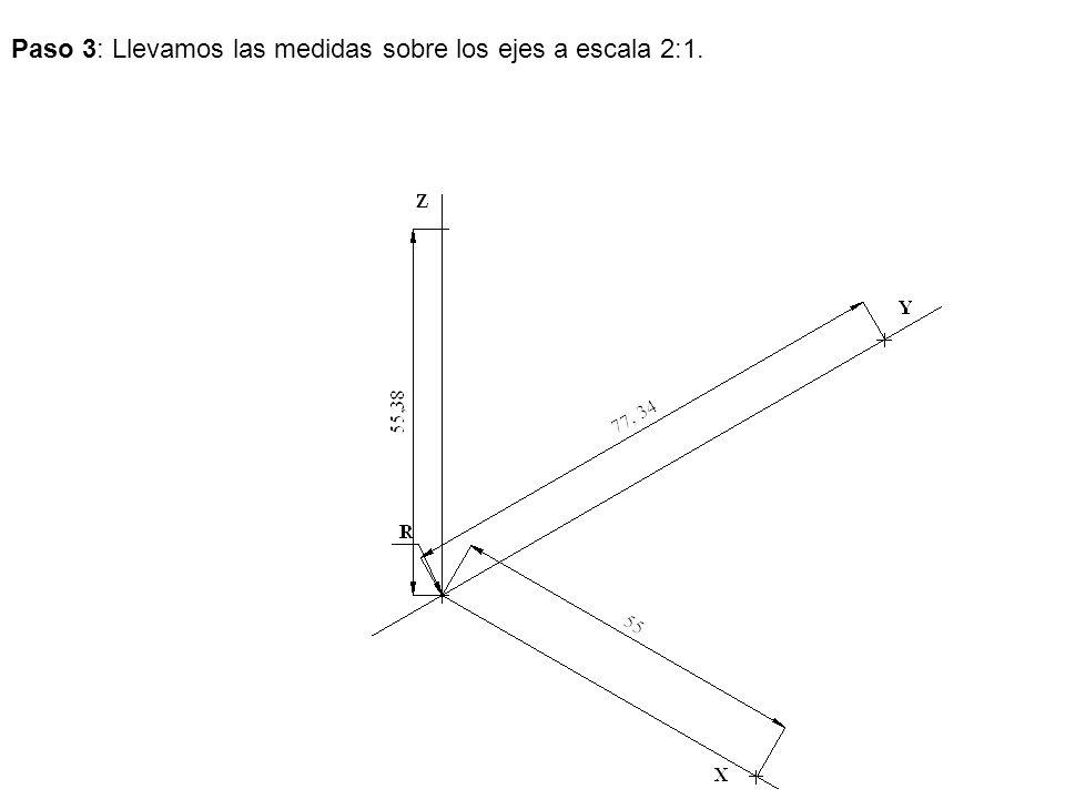 Paso 3: Llevamos las medidas sobre los ejes a escala 2:1.
