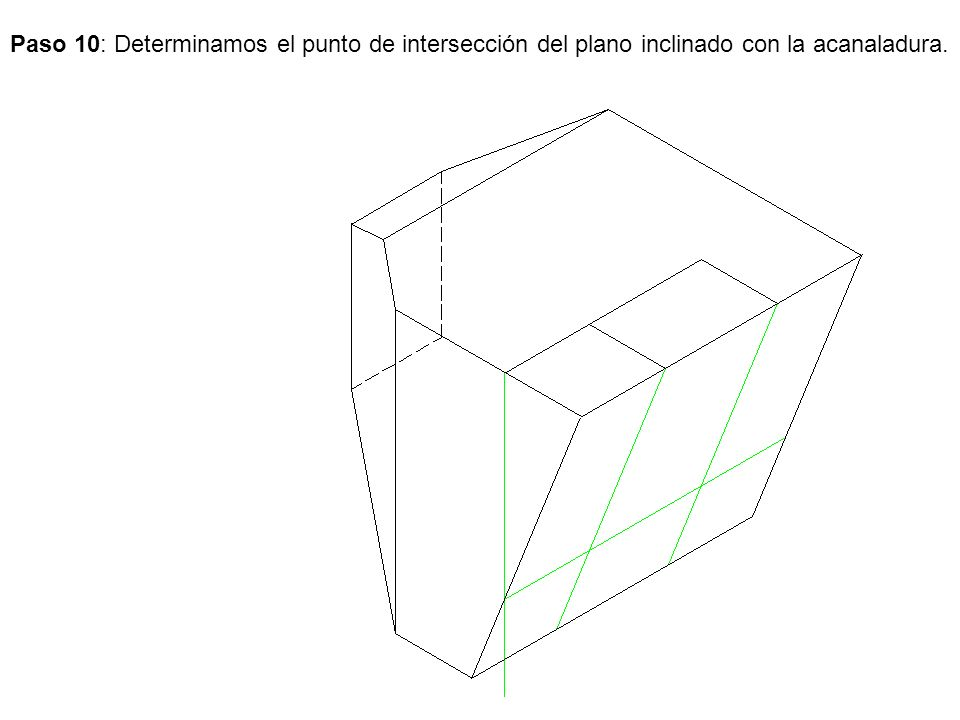 Paso 10: Determinamos el punto de intersección del plano inclinado con la acanaladura.