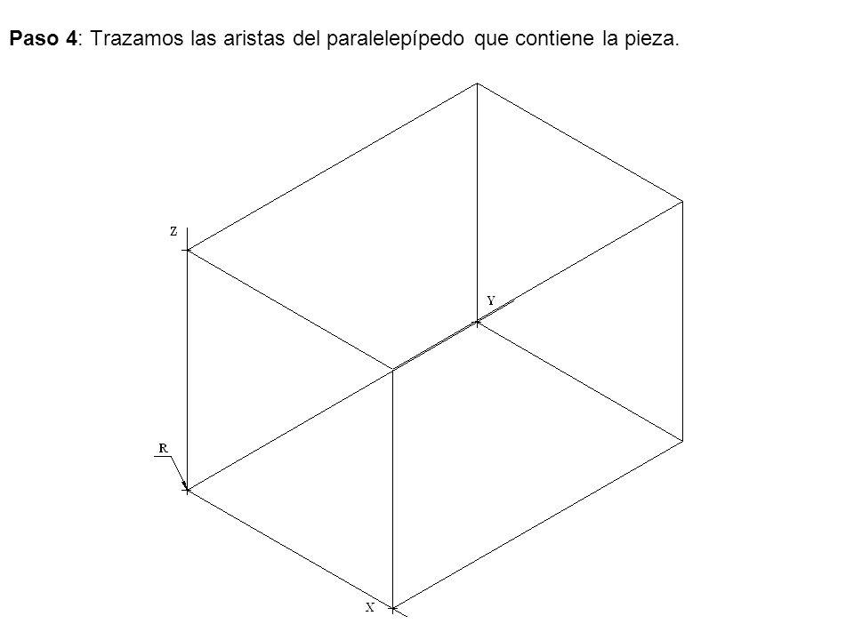 Paso 4: Trazamos las aristas del paralelepípedo que contiene la pieza.