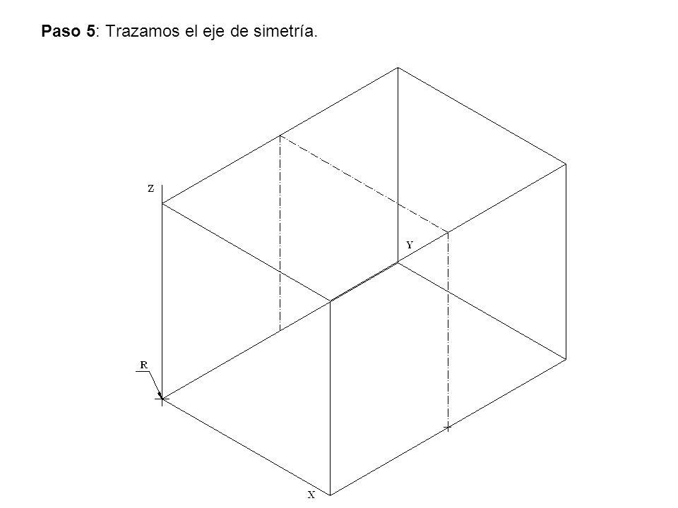 Paso 5: Trazamos el eje de simetría.