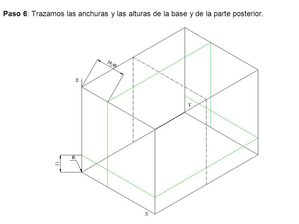 Paso 6: Trazamos las anchuras y las alturas de la base y de la parte posterior.