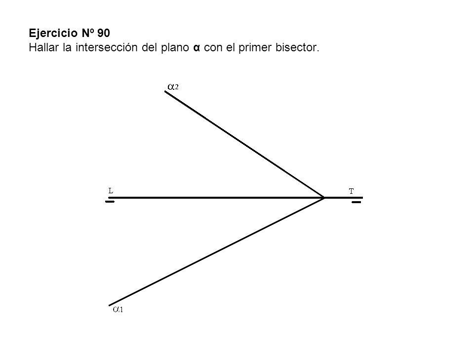 Ejercicio Nº 90 Hallar la intersección del plano α con el primer bisector.