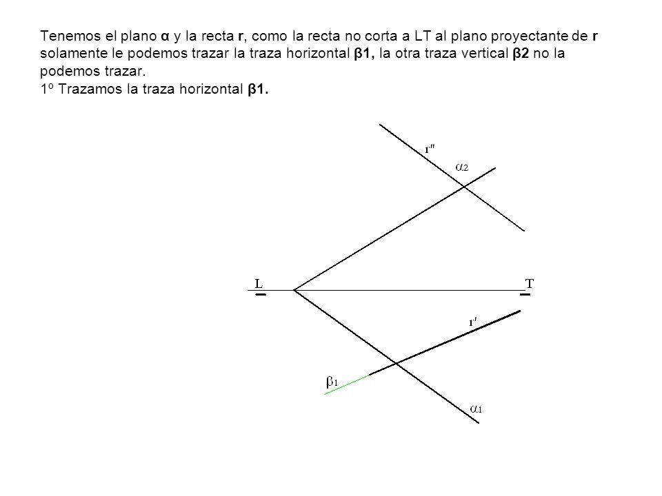 Tenemos el plano α y la recta r, como la recta no corta a LT al plano proyectante de r solamente le podemos trazar la traza horizontal β1, la otra traza vertical β2 no la podemos trazar.