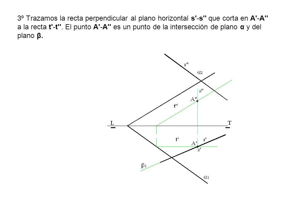 3º Trazamos la recta perpendicular al plano horizontal s -s que corta en A -A a la recta t -t .
