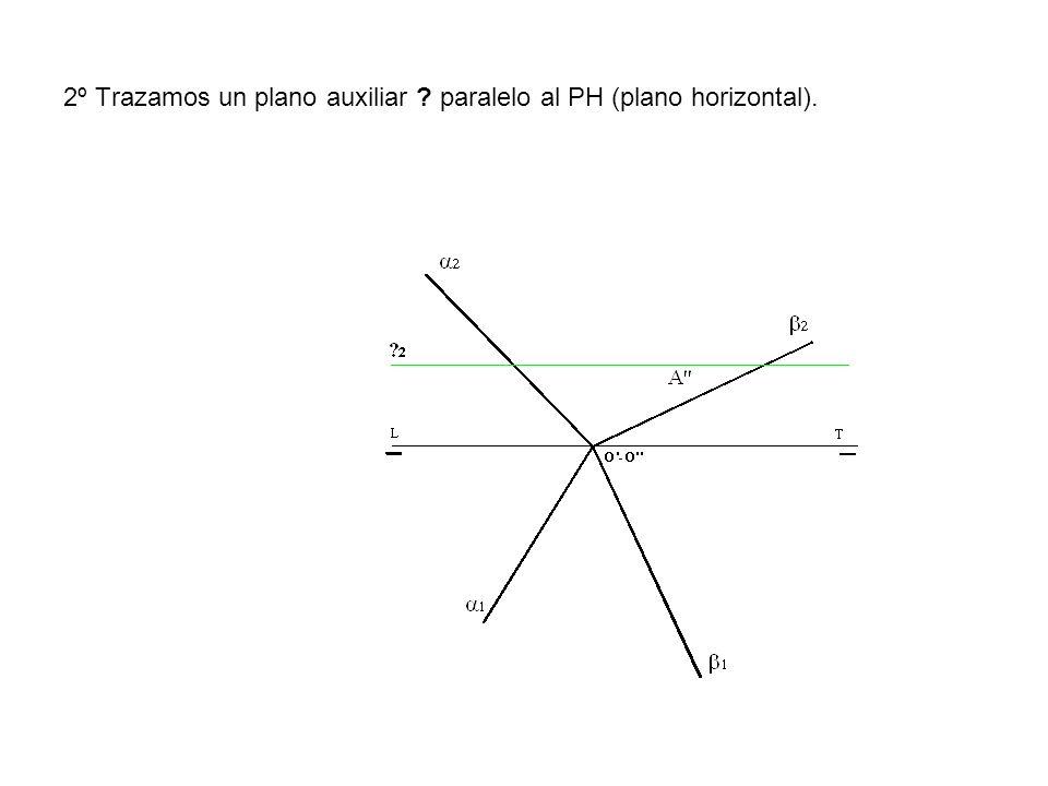 2º Trazamos un plano auxiliar paralelo al PH (plano horizontal).