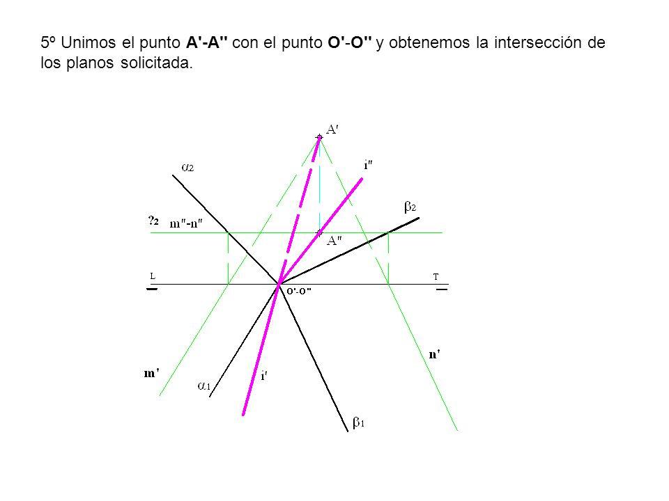 5º Unimos el punto A -A con el punto O -O y obtenemos la intersección de los planos solicitada.