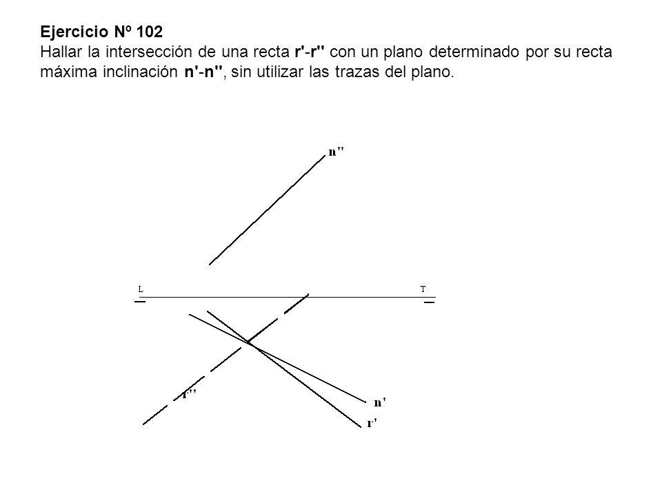 Ejercicio Nº 102 Hallar la intersección de una recta r -r con un plano determinado por su recta máxima inclinación n -n , sin utilizar las trazas del plano.
