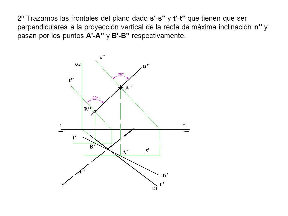 2º Trazamos las frontales del plano dado s -s y t -t que tienen que ser perpendiculares a la proyección vertical de la recta de máxima inclinación n y pasan por los puntos A -A y B -B respectivamente.