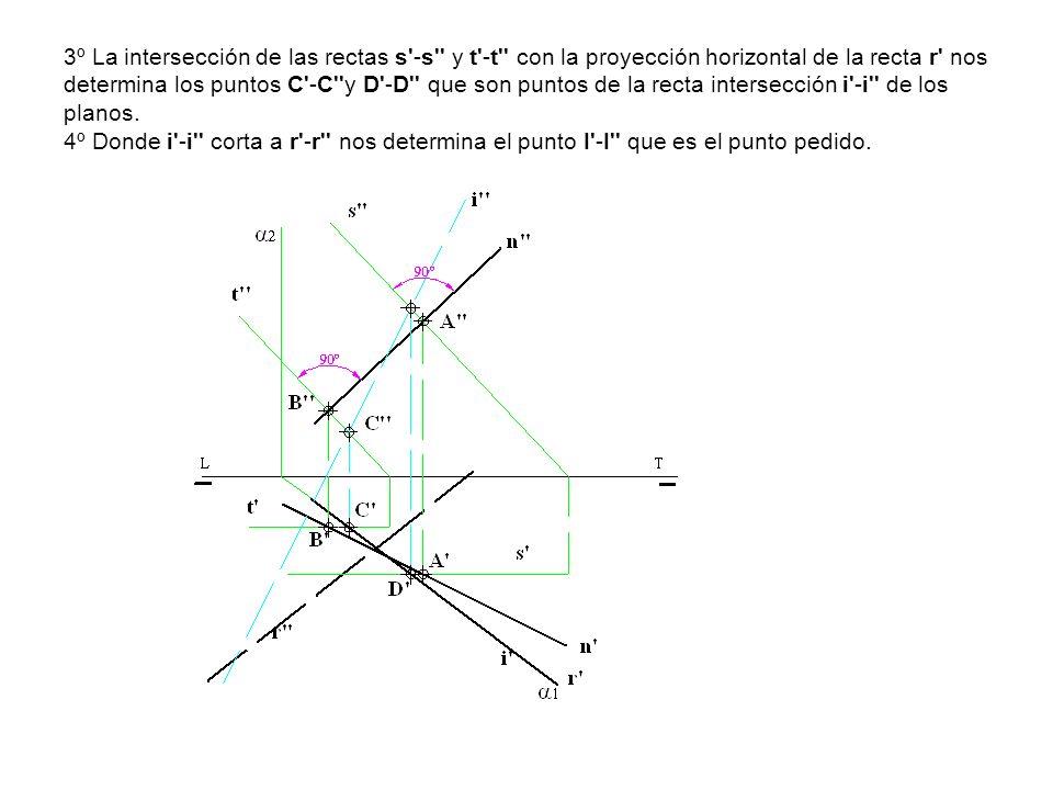 3º La intersección de las rectas s -s y t -t con la proyección horizontal de la recta r nos determina los puntos C -C y D -D que son puntos de la recta intersección i -i de los planos.