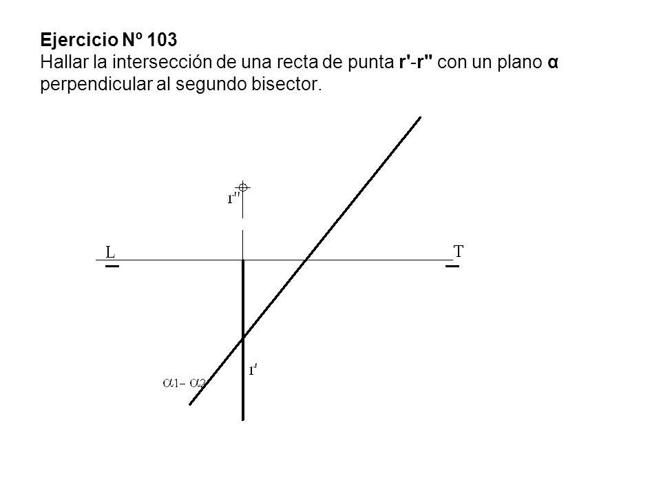 Ejercicio Nº 103 Hallar la intersección de una recta de punta r -r con un plano α perpendicular al segundo bisector.