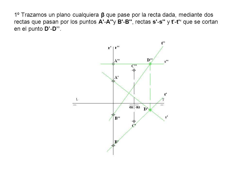 1º Trazamos un plano cualquiera β que pase por la recta dada, mediante dos rectas que pasan por los puntos A -A y B -B , rectas s -s y t -t ' que se cortan en el punto D'-D''.