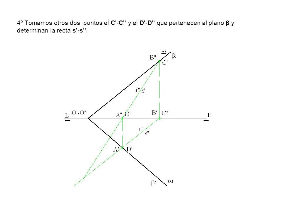 4º Tomamos otros dos puntos el C -C y el D -D que pertenecen al plano β y determinan la recta s -s .