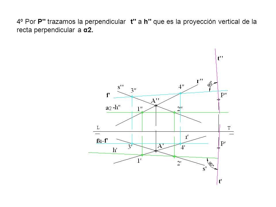 4º Por P trazamos la perpendicular t a h que es la proyección vertical de la recta perpendicular a α2.