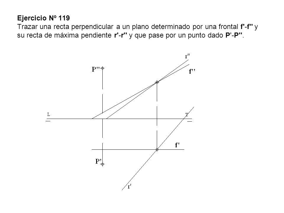 Ejercicio Nº 119 Trazar una recta perpendicular a un plano determinado por una frontal f -f y su recta de máxima pendiente r -r y que pase por un punto dado P -P .
