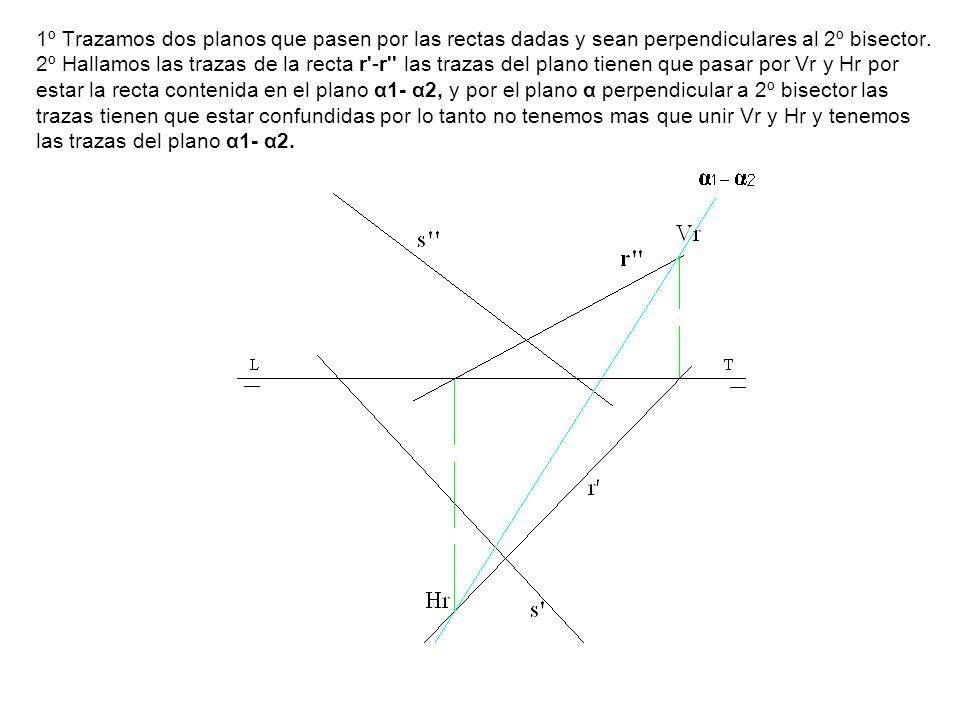 1º Trazamos dos planos que pasen por las rectas dadas y sean perpendiculares al 2º bisector.
