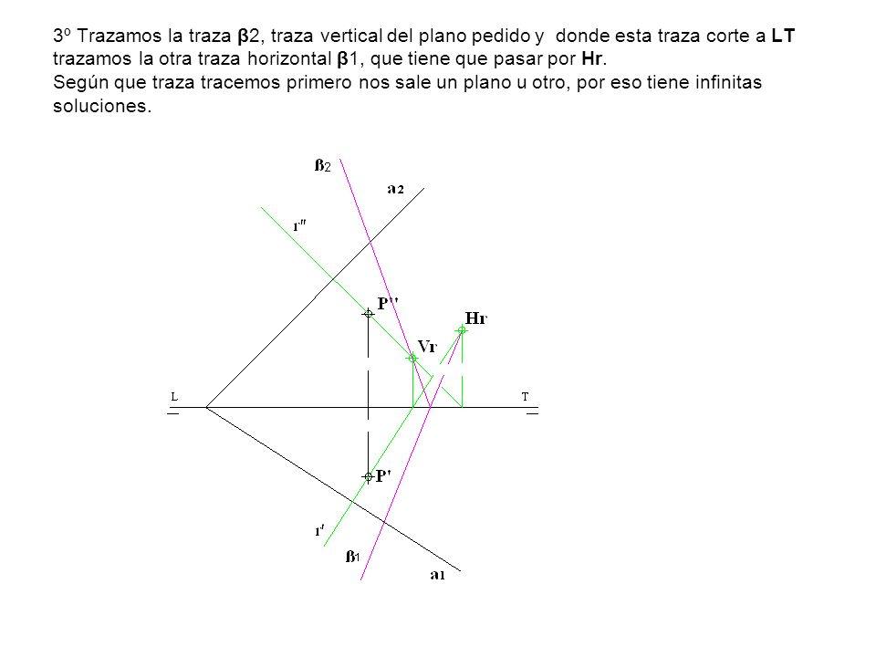 3º Trazamos la traza β2, traza vertical del plano pedido y donde esta traza corte a LT trazamos la otra traza horizontal β1, que tiene que pasar por Hr.