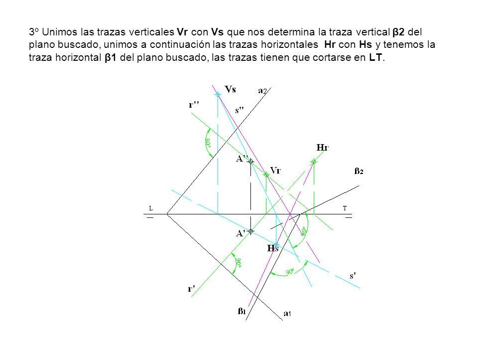 3º Unimos las trazas verticales Vr con Vs que nos determina la traza vertical β2 del plano buscado, unimos a continuación las trazas horizontales Hr con Hs y tenemos la traza horizontal β1 del plano buscado, las trazas tienen que cortarse en LT.