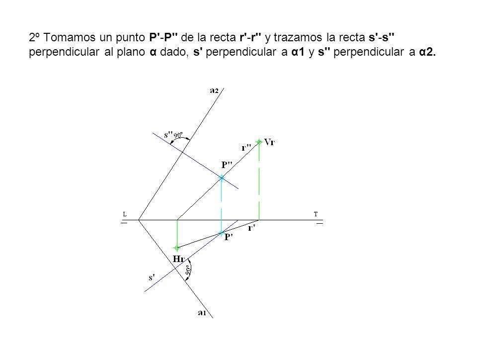 2º Tomamos un punto P -P de la recta r -r y trazamos la recta s -s perpendicular al plano α dado, s perpendicular a α1 y s perpendicular a α2.