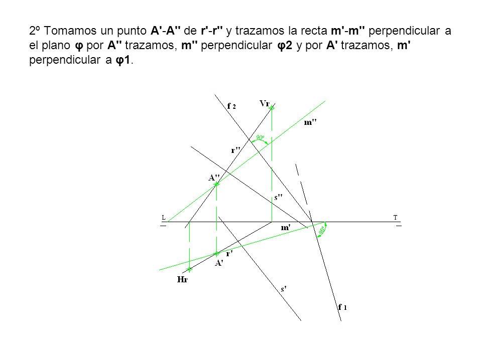 2º Tomamos un punto A -A de r -r y trazamos la recta m -m perpendicular a el plano φ por A trazamos, m perpendicular φ2 y por A trazamos, m perpendicular a φ1.