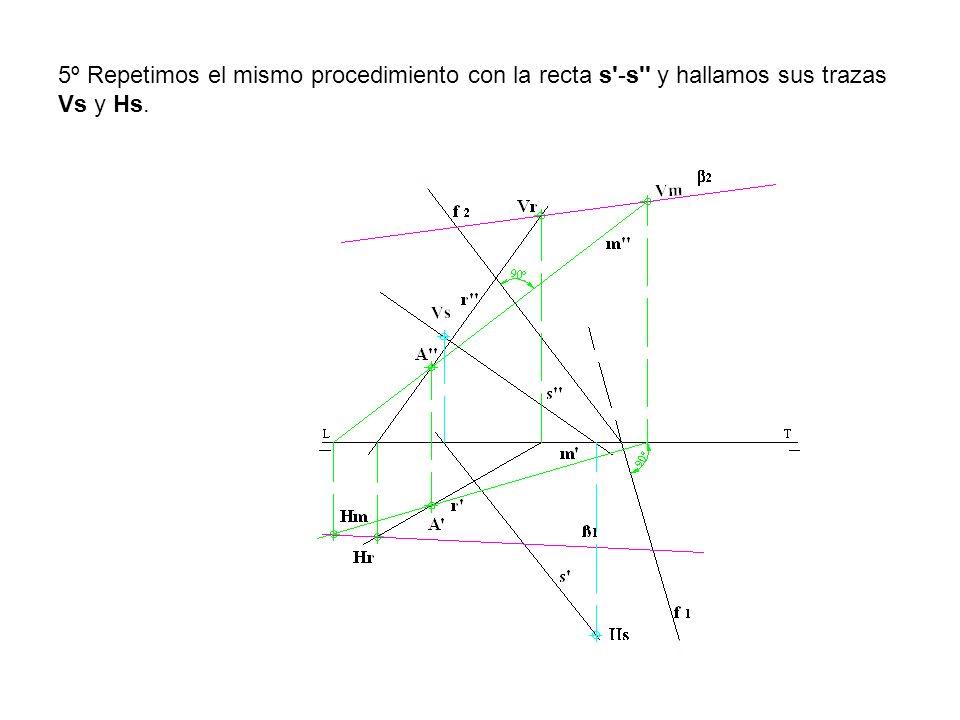 5º Repetimos el mismo procedimiento con la recta s -s y hallamos sus trazas Vs y Hs.