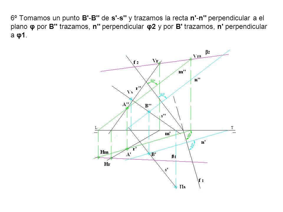 6º Tomamos un punto B -B de s -s y trazamos la recta n -n perpendicular a el plano φ por B trazamos, n perpendicular φ2 y por B trazamos, n perpendicular a φ1.